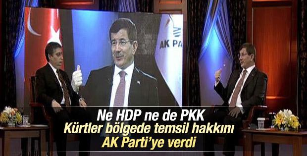 Davutoğlu: Kürtler bölgede temsil hakkını AK Parti'ye verdi