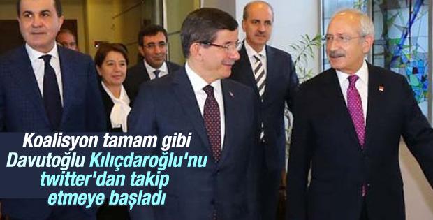 Davutoğlu twitter'da Kılıçdaroğlu'nu takibe aldı