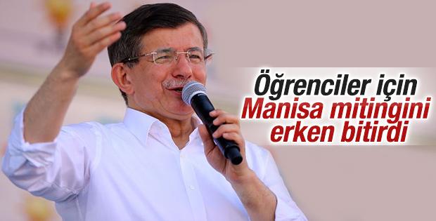 Davutoğlu Manisa mitingini erken bitirdi