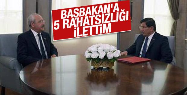 Kılıçdaroğlu'nun Davutoğlu'na ilettiği 5 rahatsızlığı