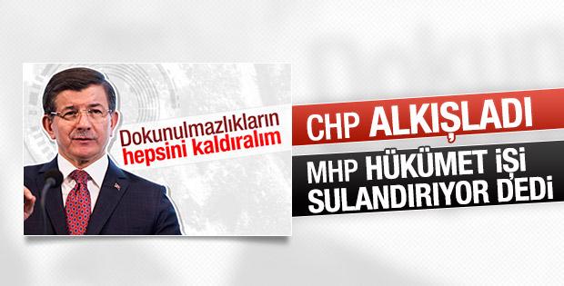 Davutoğlu'nun dokunulmazlık çağrısına CHP ve MHP'den yanıt