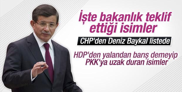 Başbakan Davutoğlu'nun bakanlık teklif ettiği isimler