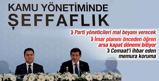 Davutoğlu Kamuda Şeffaflık Paketi'ni açıkladı İZLE