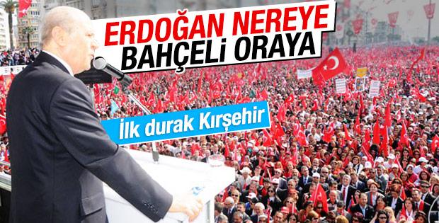 Bahçeli miting rotasını Erdoğan'a göre belirleyecek