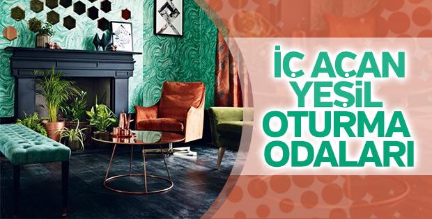 2018'in modası yeşil oturma odası fikirleri