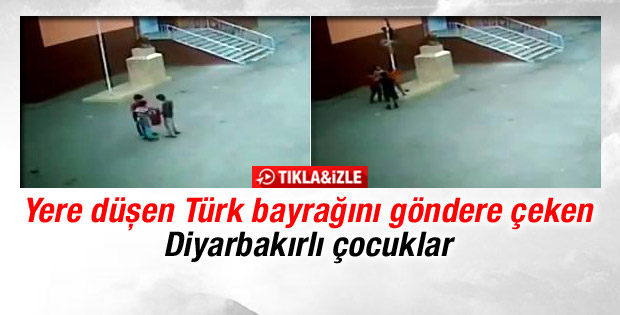 Diyarbakırlı çocukların yere düşen Türk bayrağına saygısı