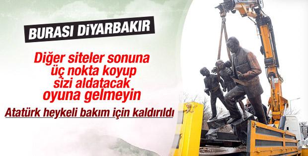 Diyarbakır'da Atatürk heykeli bakım için kaldırıldı
