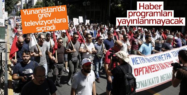 Yunanistan'daki grev televizyonlara yansıdı