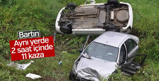 Bartın'da aynı yerde 11 trafik kazası