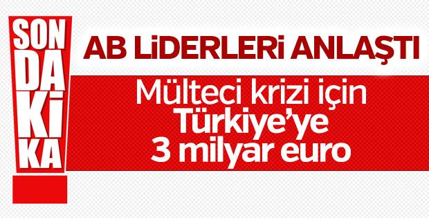 Türkiye'ye mülteciler için 3 milyar euro