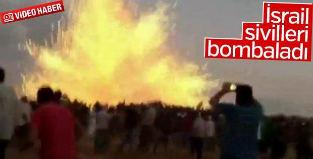 İsrail sivil göstericileri bombayla vurdu