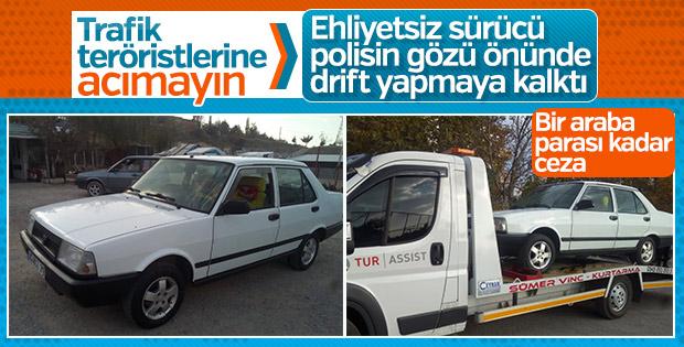 Drift atan ehliyetsiz sürücüye 7 bin lira ceza