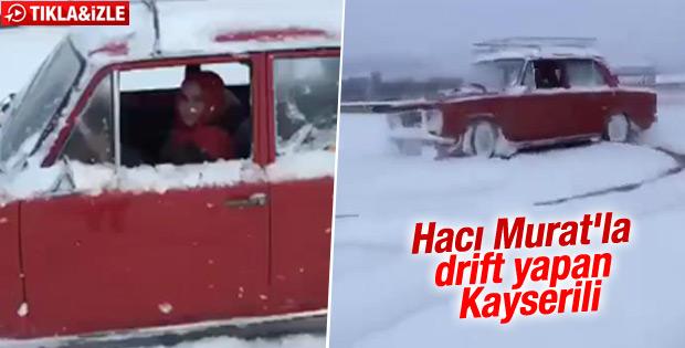 Hacı Murat ile drift yapan Kayserili kadın sürücü