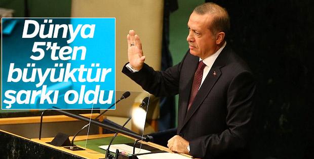 Erdoğan'ın 'Dünya 5'ten büyüktür' sözü şarkı oldu