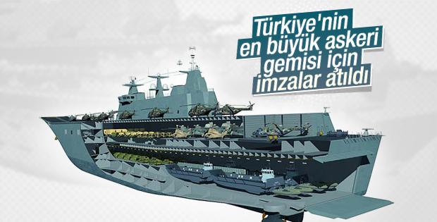 Türkiye'nin en büyük çıkarma gemisi için imzalar atıldı