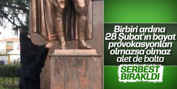 Atatürk heykeline saldıran kadın serbest bırakıldı