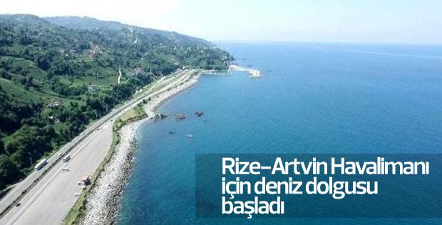 Rize-Artvin Havalimanı için deniz dolgusu başladı
