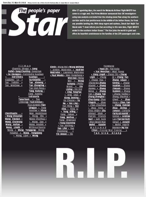 Kayıp Malezya uçağı için gazeteler siyaha büründü