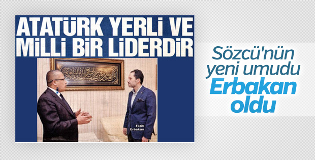 Sözcü Erbakan'ı manşete taşıdı