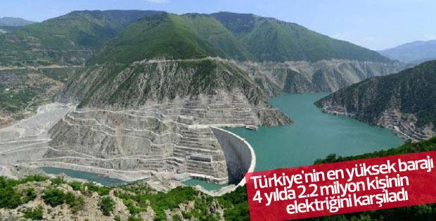 Türkiye'nin en yüksek barajı elektrik ihtiyacını karşıladı