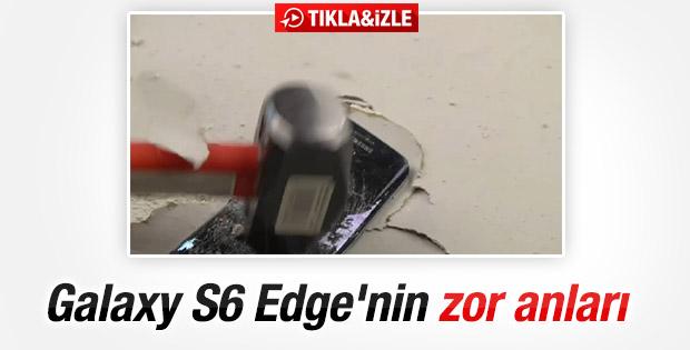 Samsung Galaxy S6 Edge'ye bıçak ve çekiç testi İZLE