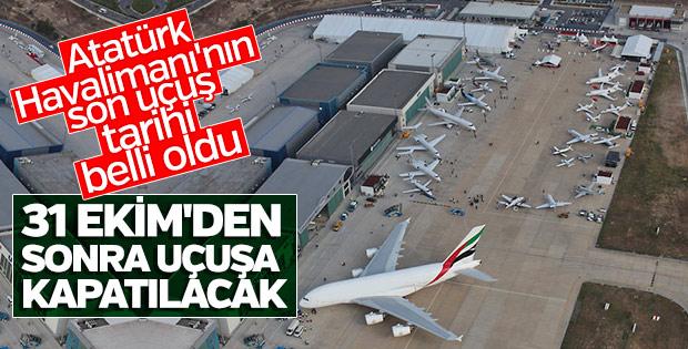 Atatürk Havalimanı 31 Ekim'de kapatılıyor