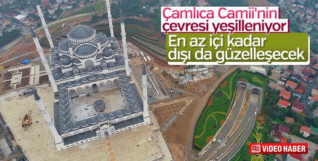 Çamlıca Camii'nde çevre düzenleme çalışmaları görüntülendi