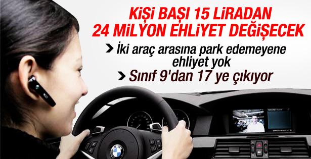 Türkiye'de 24 milyon ehliyet 15 liraya değişecek