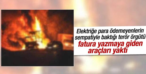 Hakkari'de elektrik şirketine ait araçlar yakıldı