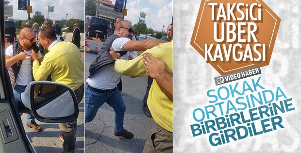 UBER sürücüsü ile taksici kavga etti