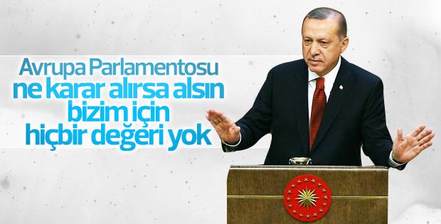Erdoğan Avrupa Parlamentosu'na tepkili