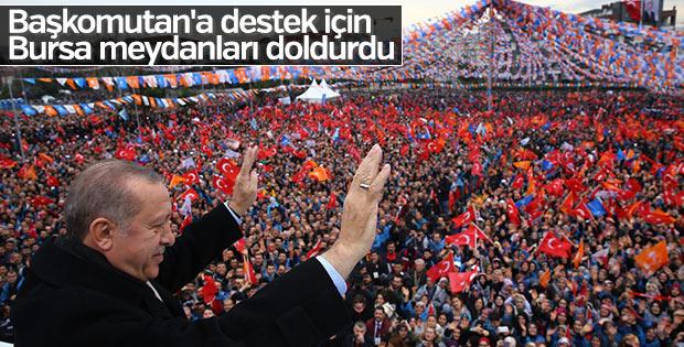 Cumhurbaşkanı Erdoğan'ı Bursa'da dev kalabalık karşıladı