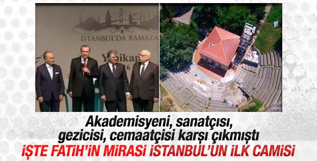 Erdoğan Fatih'in mirası İstanbul'un ilk camisini açtı