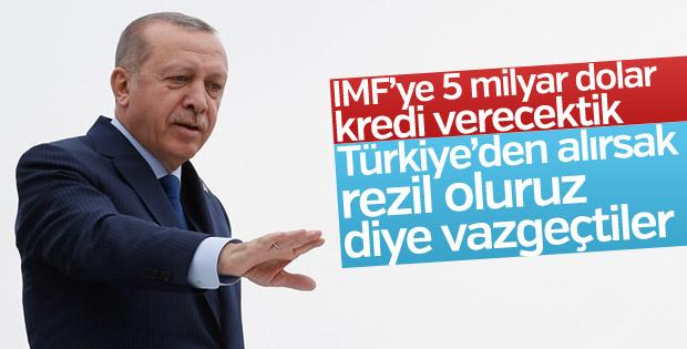 Erdoğan: IMF rezil oluruz diye 5 milyar dolardan vazgeçti