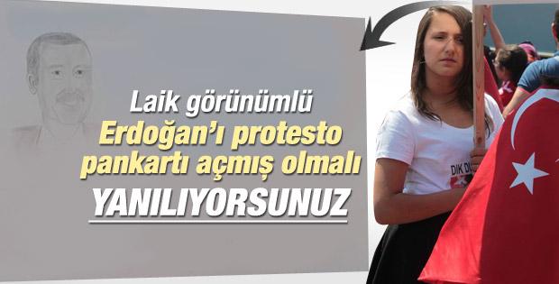 Erdoğan'a hoş geldin pankartı açan kız