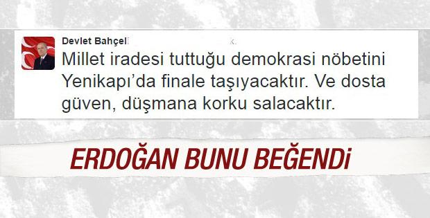 Cumhurbaşkanı Erdoğan Bahçeli'nin tweetlerini paylaştı
