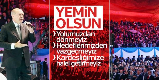 Erdoğan, partililerle yemin etti: Yolumuzdan dönmeyiz