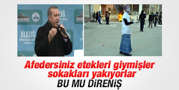Erdoğan'dan maskeli etekli eylemcilere tepki