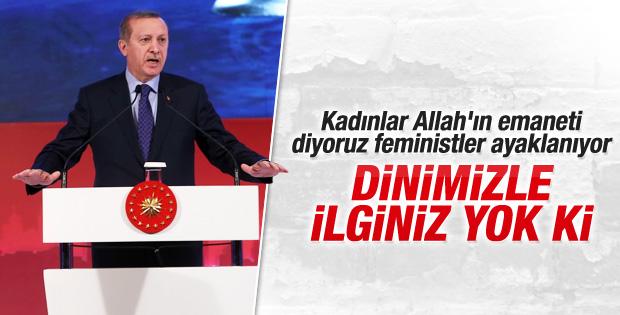 Cumhurbaşkanı Erdoğan'dan feministlere tepki