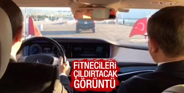 Erdoğan ile Davutoğlu Osman Gazi Köprüsü'nden geçti