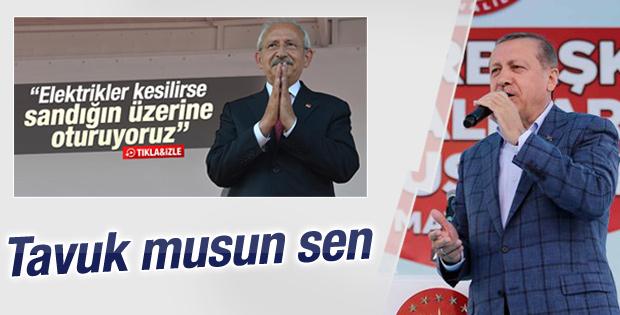 Cumhurbaşkanı Erdoğan'dan Kılıçdaroğlu'na: Tavuk musun