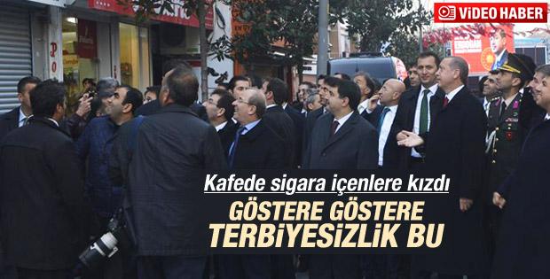 Erdoğan kafede sigara içenlere kızdı İZLE