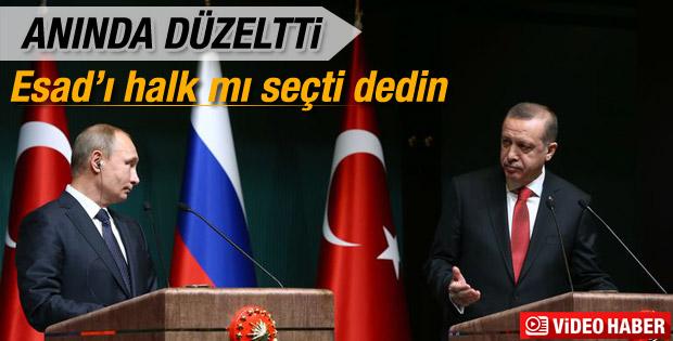 Erdoğan Putin'in Esad açıklamasını düzeltti