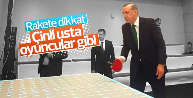 Erdoğan masa tenisi oynadı