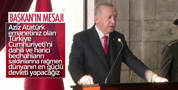 Erdoğan'ın, Anıtkabir özel defterine yazdığı mesaj