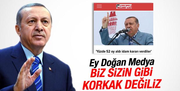 Erdoğan'dan Doğan Medya'ya tepki
