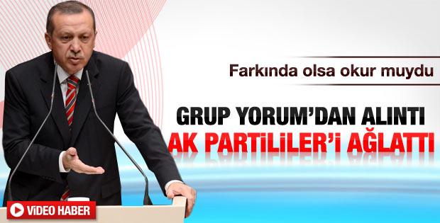 Erdoğan farkında olmadan Grup Yorum şiiri okudu