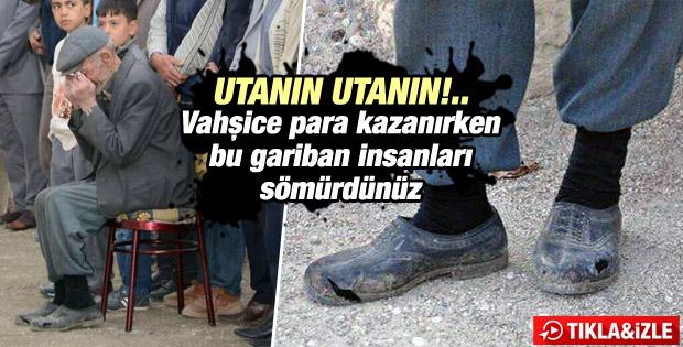Madenci babasının ayağındaki yırtık kara lastik..