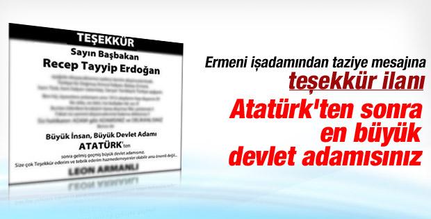 Ermeni işadamı Erdoğan için Hürriyet'e ilan verdi