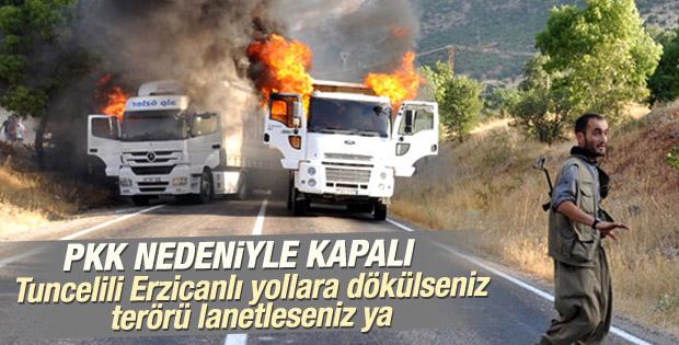 Tunceli - Erzincan karayolu patlayıcılar nedeniyle kapalı